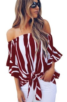 Women's Striped Off Shoulder Bell Sleeve Shirt Front Tie Knot T Shirt Blouse Tops Bell Sleeve Shirt, Bell Sleeves, Short Sleeves, Look Jean, Loose Tops, Loose Fit, Blouse Online, Pulls, Batwing Sleeve