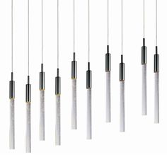 """ET2 E32779-91 10 Light 34"""" Wide LED Pendant with Seeded Glass Shades from the Sc Black Chrome Indoor Lighting Pendants"""