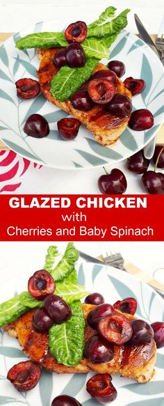 Glazed Chicken With Cherries And Baby Spinach is a quick and easy main dish, and perfect for an everyday meal or entertaining - juicy, tender Chicken glazed with Cherry jelly/jam #healthyliving #valentines