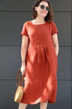 Milenda Dress – This simple, classic pull-on dress features short sleeves, pockets, sti...