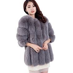 Top Fur Womens Real Fox Fur Whole Skin Herve Legar Short JacketUS 8 Grey >>> Learn more by visiting the image link.