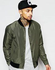 ASOS Bomber Jacket With Poppers In Khaki