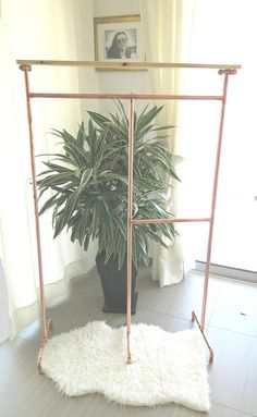 Copper Two-sided Garment Rack + Top Shelf