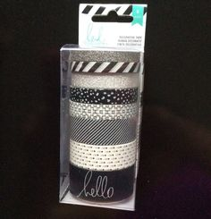 8 BLACK & SILVER Washi Tape Set Heidi Swapp Patterned + Glitter Decorative tapes rolls Planner lot white striped dots HELLO word script font