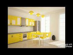 احدث اشكال الكوزينة أو المطابخ بألوانها الجميلة جدااااا - YouTube Small House Kitchen Ideas, Kitchen On A Budget, Green Kitchen Walls, Kitchen Colors, Oak Kitchen Cabinets, Rustic Cabinets, Black And Red Kitchen, Interior Design Yellow, Home Wall Colour