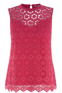 Pink Victoriana Lace Shell Top   Oasis