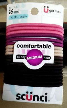 Scunci no damage Hair Ties Ponytail Holders Multi Colors 18 pcs Medium hold  NEW #Scunci