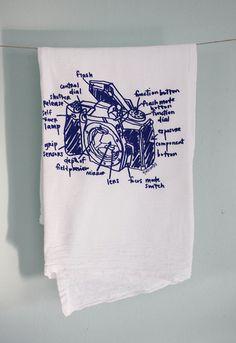 SLR camera diagram floursack towel