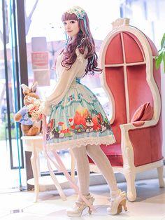 ロリータは多色のトレンディなシフォン スカートを印刷します。 - Milanoo.jp