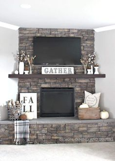 Rustic Fall Mantel – Design Dining and Diapers. Fall Lovely~… Rustic Fall Mantel – Design Dining and Diapers. Fall Lovely~ Rustic Fall Mantel – Design Dining and Diapers. My Living Room, Home And Living, Small Living, Living Room Ideas, Living Room Mantle, Cheap Home Decor, Diy Home Decor, Home Decor Country, Country Homes