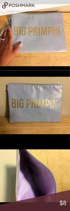 Big Primping Clutch Worn once - baby blue clutch with gold glitter letters. Charming Charlie Bags Clutches & Wristlets
