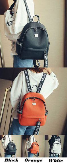 7ca1d3840a37 Simple PU Letters Pure Color Lichee Pattern Girl s School Backpack for big  sale!  school