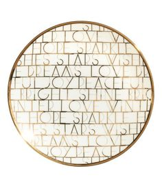 White/Hope and Love. Porcelain plate with a shimmering, metallic printed design. Diameter 6 in.