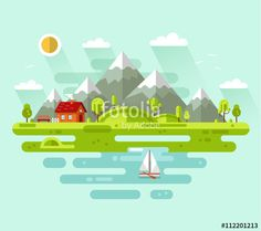 "Download the royalty-free vector ""Flat design vector nature summer landscape illustration with house, bench, sun, hills, mountains, sailing boat, sea or ocean, clouds, trees."" designed by milkym at the lowest price on Fotolia.com. Browse our cheap image bank online to find the perfect stock vector for your marketing projects!"