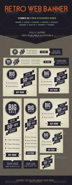 9 Retro Banners - Banners & Ads Web Elements