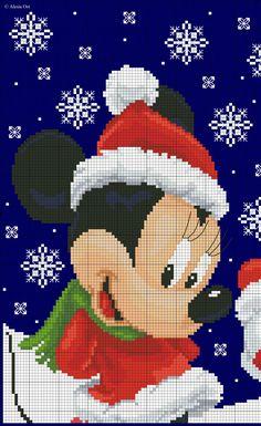 Xmas Minnie & Mickey Mouse X-stitch pattern, left side