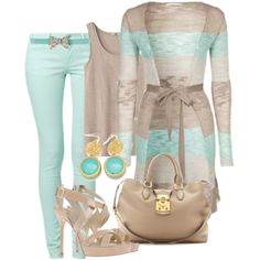 """mint jeans and long cardigan"" by missyalexandra on Polyvore"