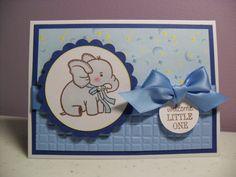 Handmade Baby Boy Card - Welcome Little One - Baby Elephant Card - Blue/Navy. $3.95, via Etsy.