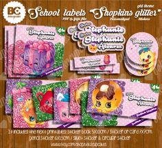 Regreso a clases, Etiquetas para los libros, o cuadernos, personalizable e imprimible Shopkins inspirado  niña, glitter kawaii de Bekacupcakes en Etsy
