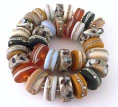 PT Handmade Lampwork Glass Beads Ochre Topaz Pebble Stones Silver Ivory  SRA  #SRAOOAKHandmadeLampwork #Lampwork