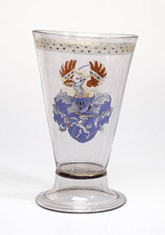Beaker with Arms of Schiltl and Portner von Theuern; Bavaria (possibly), Southern Germany, Germany; Free-blown colorless (pinkish to puplish-brown) glass with gold leaf and enamel decoration. North Rhine Westphalia, Canteen Bottle, Getty Museum, Drinking Glass, Glass Etching, Coat Of Arms, Ancient Art, Middle Ages, Art And Architecture