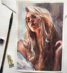 ✨ ✨ ᴰᴼᴼᴰᴸᴱˢ ᴼᶠ ᴵᴺˢᴾᴵᴿᴬᵀᴵᴼᴺ watercolor art, art drawings ve art Watercolor Portraits, Watercolor Paintings, Painting Portraits, Watercolour, Art Sketches, Art Drawings, L'art Du Portrait, Arte Sketchbook, Art Plastique