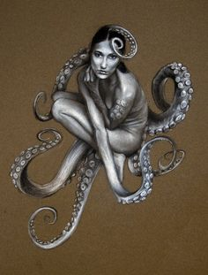 Jeffrey R Richter    Cephalobody-black and white charcoal on brown canson paper-June 2011