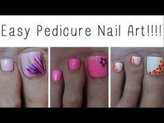 Easy Pedicure Nail Art!!! Three Cute Designs! (+playlist)