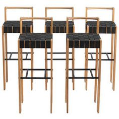 Set+of+Five+Bar+Stools+in+Oak+and+Canvas+ +From+a+unique+collection+of+antique+and+modern+stools+at+https://www.1stdibs.com/furniture/seating/stools/