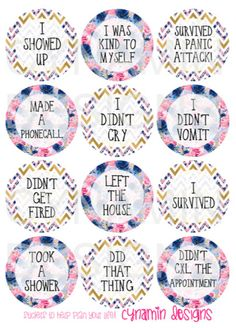 Use these gorgeous stickers to record those special adult achievements - for anxiety sufferers!  Each sheet comes with 12 adulting stickers.  Each sticker is 2.5cm across!  Printed on matte sticker paper - Kiss cut on the sheet: peel off and use straight away!  Product design by Cynamin Designs. © 2016