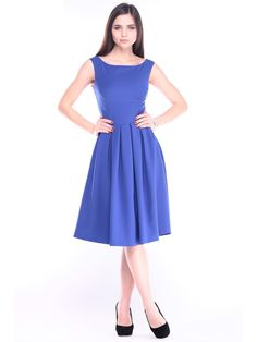 #AdoreWe #StyleWe Midi Dresses - Designer Laura Bettini Electric Color Solid Sleeveless Folds Simple Cotton-blend Party Dress - AdoreWe.com