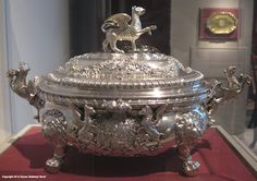 This soup tureen is the kind of elaborate & costly silver serving pieces that would be found on the Duke of Marchbourne's table (though of course with his family's symbols, & not those of the Marquess of Rockingham, for whom this was made in 1737) Soup Tureen, George Wickes, London, 1737-1738, silver. Collection, Colonial Williamsburg Foundation. More info: http://twonerdyhistorygirls.blogspot.com/2012/05/entertaining-like-earl-1738.html