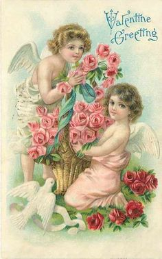 Over the Rainebeau: Pink Saturday and Valentines and Valentines! : Over the Rainebeau: Pink Saturday and Valentines and Valentines! My Sweet Valentine, Valentine Images, Vintage Valentine Cards, Vintage Greeting Cards, Vintage Postcards, Vintage Images, Dossier Photo, Valentines Illustration, Little Cherubs