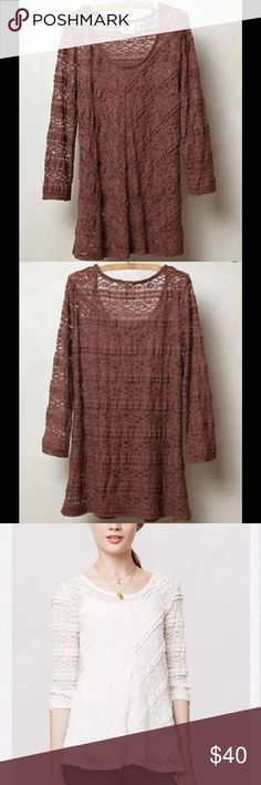 "ANTHROPOLOGIE Lilka Colette Sheer Lace Top Mauve $78 ANTHROPOLOGIE Lilka Colette Sheer Lace Top Mauve Brown Sz XS  • By Lilka  • Pullover styling  • Stretchy Nylon/spandex  • Underarm to underarm laying flat measures 14,5"" unstretched, shoulder to hem measures 25.5""  • $78 retail  Model to show fit only. Keep in mind, this top is sheer and will require a tank top lining. Anthropologie Tops Blouses"