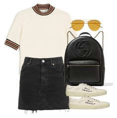 """""""Untitled #4203"""" by lily-tubman ❤ liked on Polyvore featuring Monki, Topshop, Gucci, Yves Saint Laurent and Tomas Maier"""