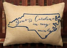 Hand Painted Gone to Carolina in my Mind on Burlap
