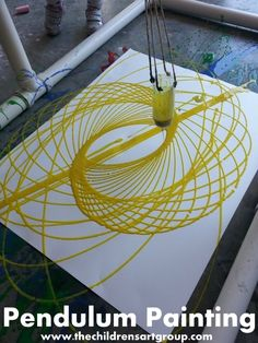 Pendulum Painting idea. This would be an ordeal to make but once you have it this could be fun every year. Maybe a end of summer reading party activity. Fizz Boom Read 2014 Program ideas.