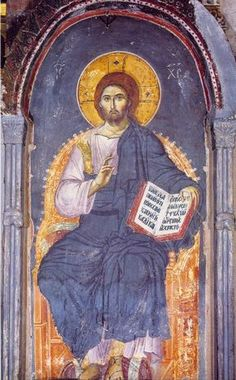 Icon of Christ Enthroned (Panselinos, – Byzantine Art, Byzantine Icons, Life Of Christ, Jesus Christ, Fresco, Christian Artwork, Orthodox Icons, Mural Painting, Tempera