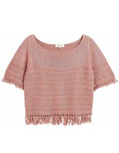 Crop top façon tricot vieux rose à franges