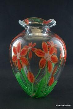 Large Murano Glass Vase with Orange Flowers