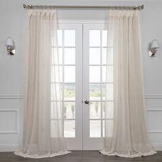 EFF Linen Open Weave Cream Sheer Curtain Panel