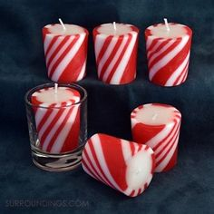 Festive candy cane votive candles are peppermint scented and burn approximately 15 hours. Each package comes with six candles. Floating Candles, Votive Candles, Scented Candles, 50th Birthday Centerpieces, Candle Centerpieces, Christmas Table Decorations, Christmas Decor, Christmas Ornaments, Candle Containers