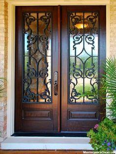 55 Ideas for glass front door entryway wrought iron Iron Front Door, House Front Door, Glass Front Door, House Doors, Wood Glass Door, Glass Doors, Door Entryway, Entrance Doors, Foyer