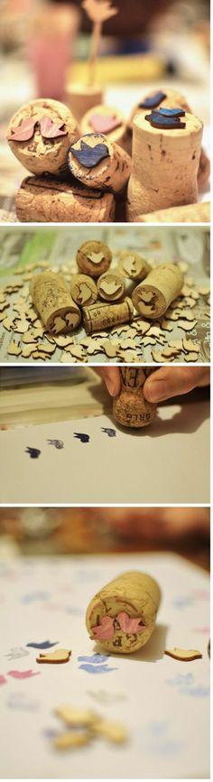 encore une idée pour fabriquer des tampons de bouchon de liège, à motif oiseau