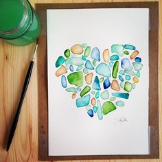 """Sea glass heart, original watercolor painting by Katrina Pete #watercolor #watercolorpainting #seaglass #sea #beach #beachglass #art #instaartist #artist #etsyfinds #etsy #nautical#beachhome #hamdmade #homedecor #heart #love #ocean"" Photo taken by @thedailywatercolor on Instagram, pinned via the InstaPin iOS App! http://www.instapinapp.com (03/23/2015)"