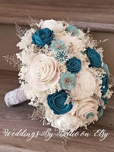 Shabby Chic Home Decor Teal Wedding Flowers, Sola Flowers, Teal Wedding Decorations, Teal Wedding Bouquet, Hair Wedding, Wedding Colors Teal, Teal Wedding Dresses, Art Flowers, Wedding Veils