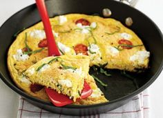Great for brunch or a light supper, this recipe can also be adapted to make a tasty pudding. From BBC Good Food. Spinach Omelette, Omelette Recipe, Frittata, Bbc Good Food Recipes, Egg Recipes, Healthy Recipes, Vegetarian Recipes, I Love Food, Summer Recipes