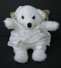 "6"" White ANGEL BEAR Plush Toy or Xmas Ornament TB Trading Stuffed Toy"