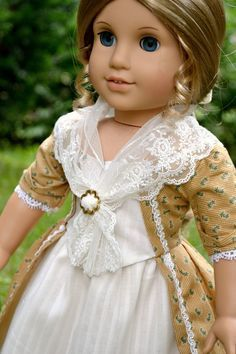 Doll Dress Colonial Gown for American Girl Felicity Elizabeth Summer Tea Dress