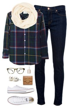 """plaid for fall"" by classically-preppy ❤ liked on Polyvore featuring J Brand, Band of Outsiders, Converse, Warby Parker, Tory Burch, Essie and Bounkit"